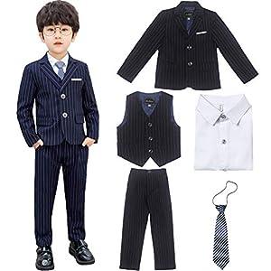 CARETOO 子供服 男の子スーツ ベビー服 キッズ 洋装フォーマル ボーイズ 5点セット紳士服 表会 入学式 卒業式 結婚式 七五三 誕生日
