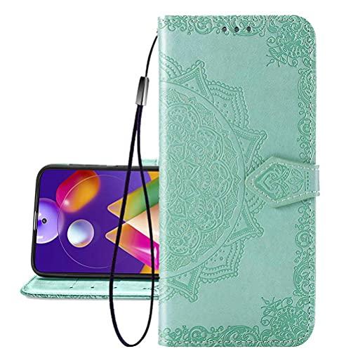 COTDINFORCA Etui für Huawei P40 Lite 5G Hülle, PU Leder Cover Schutzhülle Magnet Tasche Flip Handytasche im Bookstyle Kartenfächer Lederhülle für Huawei Nova 7 SE Half Mandala Green SD