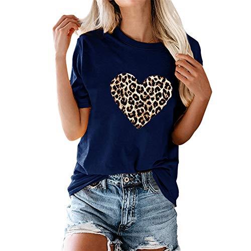PRJN Camiseta para Mujer Manga Corta con Estampado de Amor Tops gráficos Blusa Informal Mujer Camiseta de Manga Corta con Estampado Top Verano con Estampado de Amor Camisetas gráficas Blusa