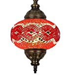 (31 modelos) Lámpara de techo colgante hecha a mano con mosaico, 2019 impresionante 41,9 cm de altura – 17,78 cm, globo turco marroquí de cristal árabe, decoración del hogar, bronce claro (caramelo)