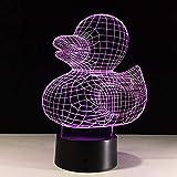 Luce notturna a LED 3D Deco Lampada LED da Tavolo Cut duck Regali di Natale per Bambini, Uomini Con ricarica USB, cambio di colore colorato