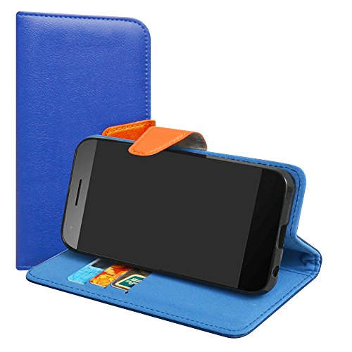LiuShan Vodafone Smart E8 Hülle, Brieftasche Handyhülle Schutzhülle PU Leder mit Kartenfächer & Standfunktion für Vodafone Smart E8 Smartphone (mit 4in1 Geschenk verpackt),Deep Blue