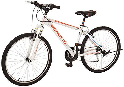 Benotto XC-4000 R26 21V – Bicicleta de Aluminio, Sunrace Frenos V, Blanco/Naranja, Chico-Mediana