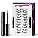 Magnetic Eyeliner and Lashes Kit, Reusable 3D False Eyelashes 10 Pairs, Waterproof and Smudge-proof Eyeliner