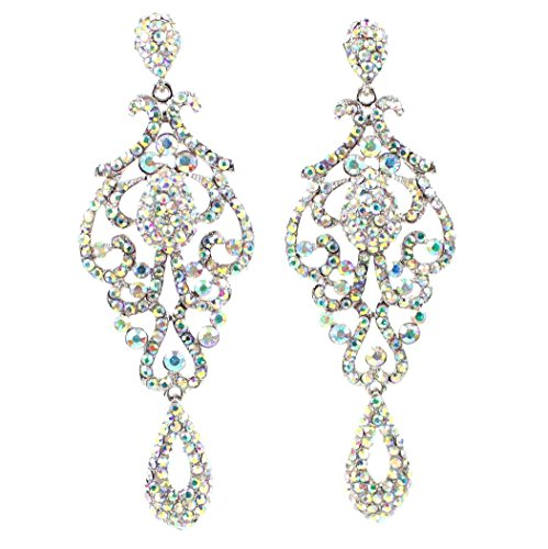 LARGE PAGEANT CRYSTAL RHINESTONE CHANDELIER DANGLE EARRINGS PROM E2090AB AB WHITE