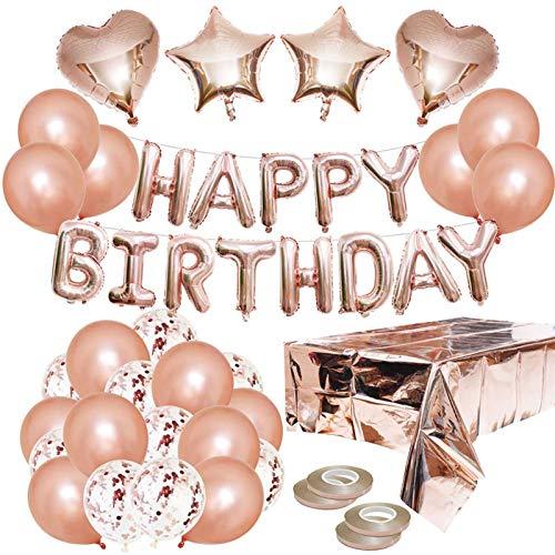 Decoración de cumpleaños decoración de oro rosa,  globos de oro rosa,  globo de papel de feliz cumpleaños,  decoración de mesa decoración de cumpleaños para la niña