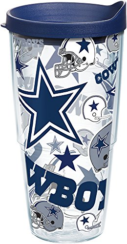 Tervis NFL Dallas Cowboys All Over Tumbler with Lid, 24 oz, Clear