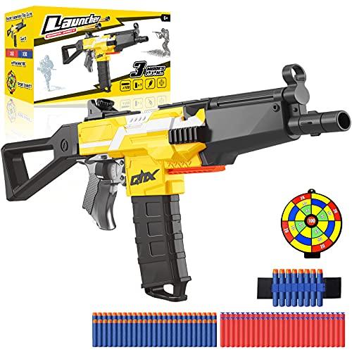 Pistola Juguete Eléctrica con Clip de 12 Dardos, MP5 Blaster Automático Grande + 100 Flechas para Nerf, 3 Modos de Disparo, USB Recargable, Juego al Aire Libre Chicas, Adolescente Adulto, Regalo Niños