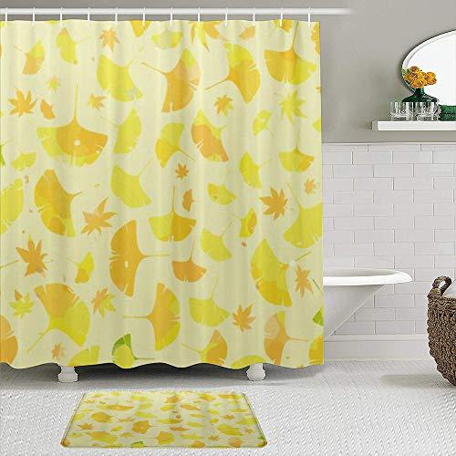 OPQRSTQ-O Stoff Duschvorhang & Matten Set,Ginkgo Blätter Ahorn abstrakt blumig,Wasserabweisende Badvorhänge mit 12 Haken,rutschfeste Teppiche