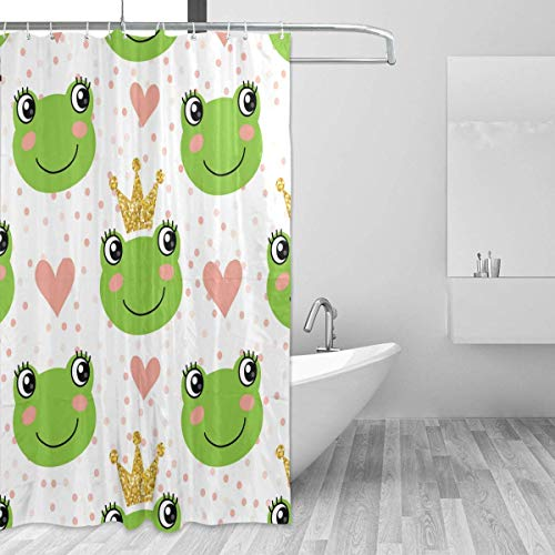 Marcia Abbot(t) Badezimmer-Duschvorhang mit Haken, süßer Frosch-Prinz, 182,9 x 182,9 cm, wasserdichter Duschvorhang Stoff