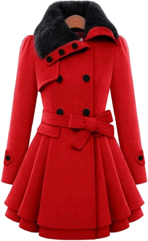 Omniscient Women's Double Breasted Long Sleeve Wool Blend Pea Coat Jackets