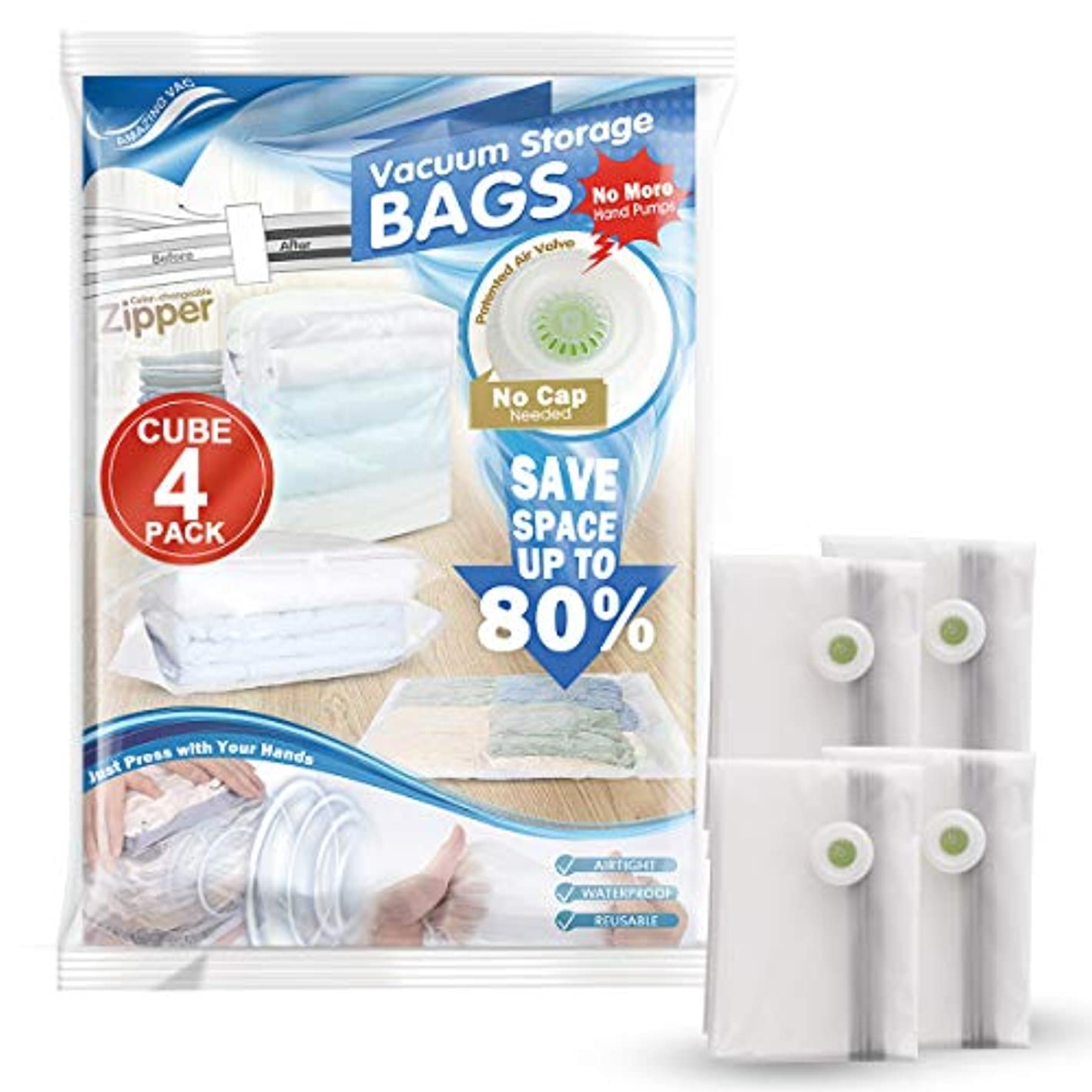 Hi Storage Cube Vacumm Storage Bags Clear Frosted Space Saver | 4 Pack 31