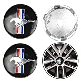 Capuchon de moyeu de Centre de Roue de Voiture Emblème Badge Capuchon de Centre de Roue de Logo pour Ford Mustang Shelby GT Accessoire de Style de Voiture, Noir, 60mm, 4pcs / Set