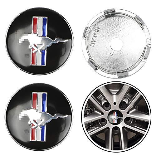Tapacubos del Centro de la Rueda del Coche Emblema del Logotipo de la Insignia Tapa del Centro de la Rueda para Ford Mustang Shelby GT Accesorio de diseño del Coche, Negro, 60 mm, 4 Piezas/Juego