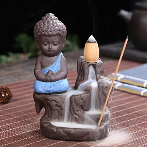 Quemador de incienso de reflujo para conos de incienso, pequeño monje Buda, cascada, soporte para quemador de incienso, cerámica, salón, decoración, regalo, (azul)