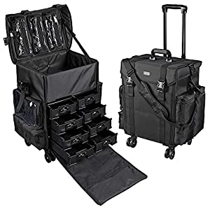 54df490ca7  176 AW 2in1 Black Soft Sided Rolling Makeup Case Oxford Fabric Cosmetic  15x11x25