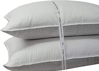 Royal Hotel Medium-Firm Down Pillow - 500 Thread Count Cotton Shell, Down Pillow Medium Support, King Size, Medium Firm, Set of 2