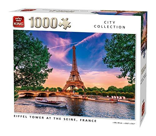 King 55851 Puzzle Eiffelturm bei der Seine-1000 Teile, Farbig, 68x49 cm