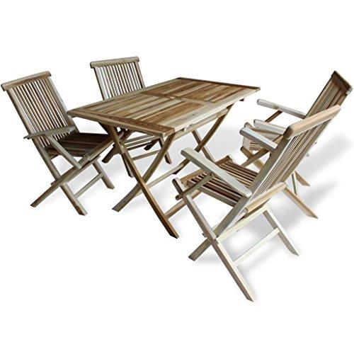 LD Teak 5-delig Zitgroep zitmeubelen houten tuinmeubelen eettafel klapstoelen