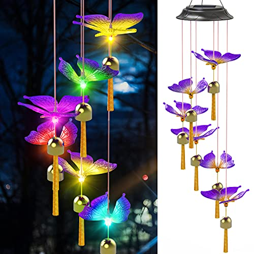 Matinrigid Solar Butterfly Wind Chimes, Color Changing Solar Wind Chime Outdoor Waterproof Butterfly LED Wind Chime, Gifts for Mom Grandma Birthday Night Party Yard Garden Hanging Decoration