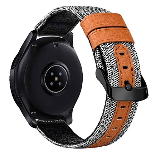 iBazal 20mm Armband Uhrenarmband Stoff Leinen Textil Gewebte Armbänder Ersatz für Galaxy Watch 42mm/Active/2 40mm/44mm/Gear S2 Classic/Sport/Huawei Watch 2/Ticwatch 2/E Ersatzarmband Uhrarmband - Weiß