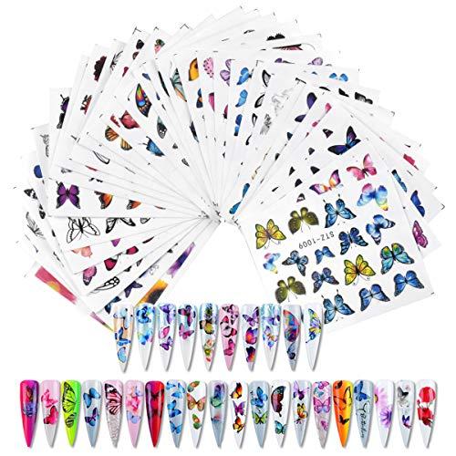 HQdeal 30 Fogli Adesivi Unghie Decalcomania Trasferimento ad Acqua 3D Nail Stickers Water Decals Nails Fai da Te Arte Unghie Autoadesivi Nail Art Colore Misto Adesivi Floreali