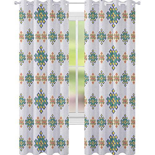 YUAZHOQI Celtic Room Darkening Window Curtains Pastel Colored Unique Geometric Hexagon Celtic Motifs on White Background Irish Art Drape for Glass Door 52' x 63' Multicolor