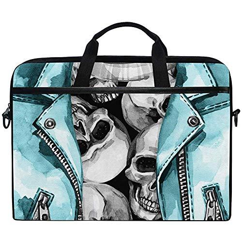 Aquarell Schädel Druck In Lederjacke Laptop Tasche Tasche Hülle Tragbar/Crossbody Messenger Aktentasche Cabrio Mit Gurt Tasche Für MacBook Air/Pro Oberfläche Dell Asus Hp Lenovo,14-14,5 Zoll