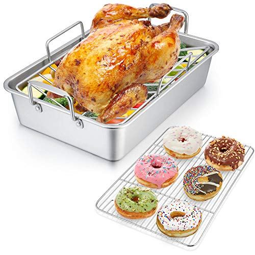 Roasting Pan with Rack, P&P CHEF 14 Inch Stainless Steel Roaster Lasagna Pan & V-shaped Rack & Roasting Rack, Non Toxic & Heavy Duty, Brushed Surface & Dishwasher Safe, Rectangular
