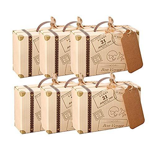 Kingsley 50pz Mini Retro Valigia Bomboniere Vintage Carta Kraft Candy scatole Regalo, Scatole Cubo Portaconfetti Segnaposto Tema Viaggio Mondo Corda di Canapa Accessori Vintage Compresi
