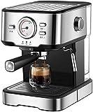 Coffee Machine, Household Coffee Maker Home Espresso Coffee Machine Semi-Automatic Cafe Maker Steam Milk Foam 1.5L Espresso /20Bar