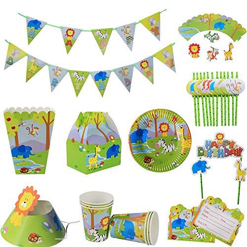 LXQ Jungle Animals Verjaardagsfeestenset, Jungle Animal Wegwerp Verjaardagsbestek, Inclusief Papierborden, Bekers, Tafelkleden, Bestek, Straws, Hoeden, enz. (170 Stuks)