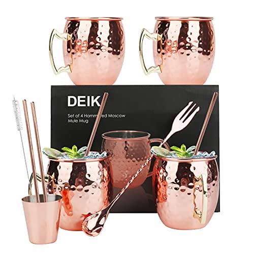 Upkey Moscow Mule Becher Set 4 Kupferbecher Großartig 16Oz Kupferbecher mit 4 Strohhalme Kupferbecher Cocktail Tasse mit Jigger Strohbürste Löffel für Kaltes Getränk, Wein, Bar, Party, Geschenkset