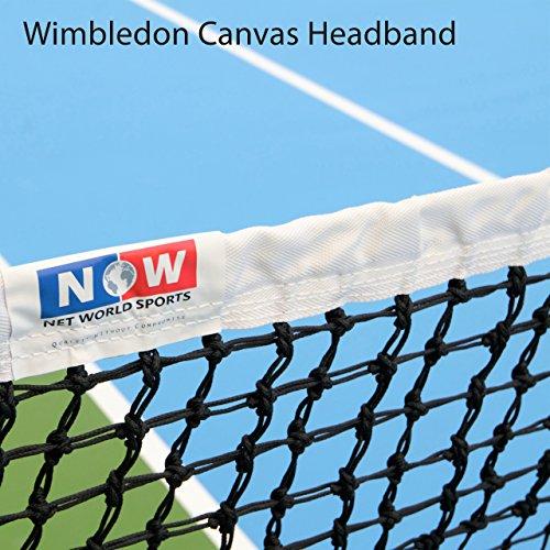 Vermont 3.5mm Double Top Tennis Net (22lbs) | Championship Standard Tennis Net | Wimbledon Style Canvas Headband | Premium 3.5mm Braided HDPE Twine | 42ft [Doubles Regulation] (Standard Headband)