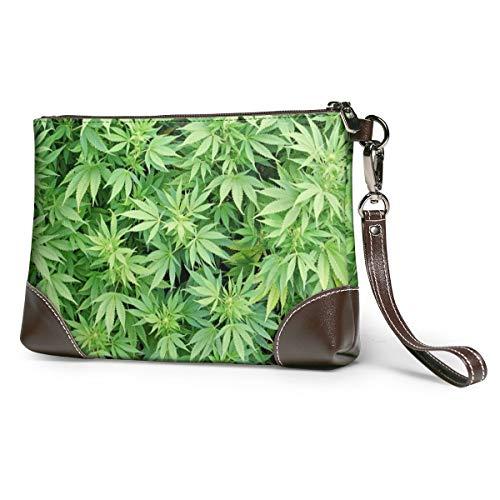 Echtleder-Geldbörse für Frauen, Reißverschluss, lange Geldbörse, Vintage-Prägung, Rindsleder, Kapazität, handgefertigt, Clutch, Marihuana-Blätter, Pflanzen, Drogen, Rasta