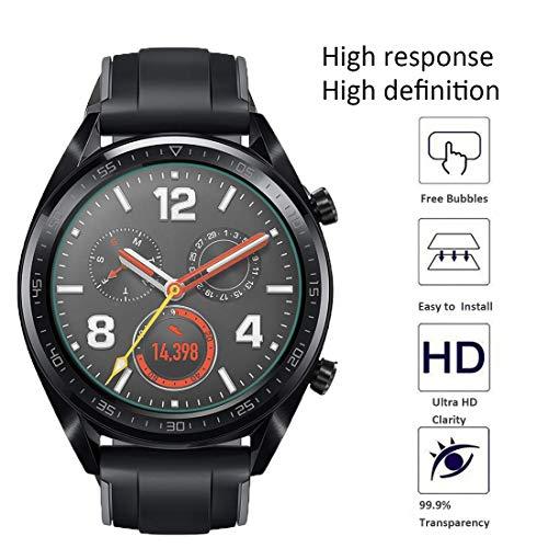 NEWZEROL Ersatz für Huawei Watch GT / GT Active Panzerglas Schutzfolie , [4 Pack] (46 mm) 2.5D Arc Edges 9H Glas Displayschutz Anti-Kratzer blasenfrei Schutzfolie - [Lebenslange Ersatzgarantie] - 4