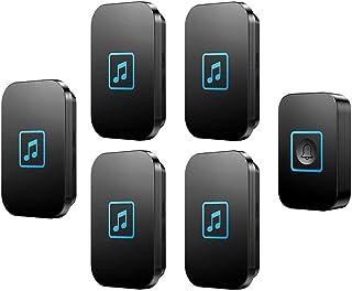 Wireless Doorbell, IP44 Waterproof Doorbells with 300M Range,1 Push Button And 5 Receivers with LED Flash,60 Ringtones,5 V...