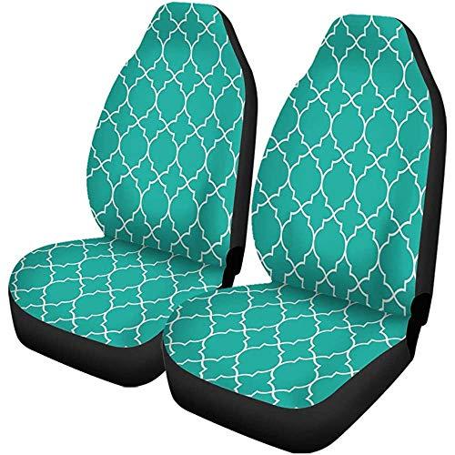 Autostoelhoezen Trellis Mint Groen Traditioneel Geometrisch Quatrefoil Patroon Tapijt Lattice Set van 1 Beschermers Auto Fit voor Auto
