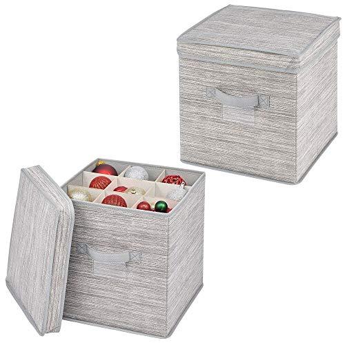 mDesign Set van 2 opbergdozen met 27 sleuven – Synthetische stof en kaart kubus opslag organisator voor linten en strikken – Moderne plank doos met deksel en handgrepen – Grey/Beige