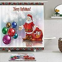 GEEVOSUN シャワーカーテン バスマット 2点セット スノーフレークの松モミの木にカラフルなクリスマスボールと新年のクリスマスサンタクロース 自家 寮用 ホテル 間仕切り 浴室 バスルーム 風呂カーテン 足ふきマット 遮光 防水 おしゃれ 12個リング付き