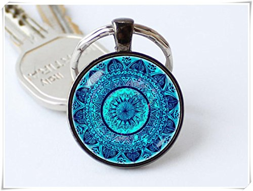 yi sheng Mandala Art Yoga, Key Chain,Mandala Keyring,Ethno Pendant, Jewelry, Mandala Key Chain