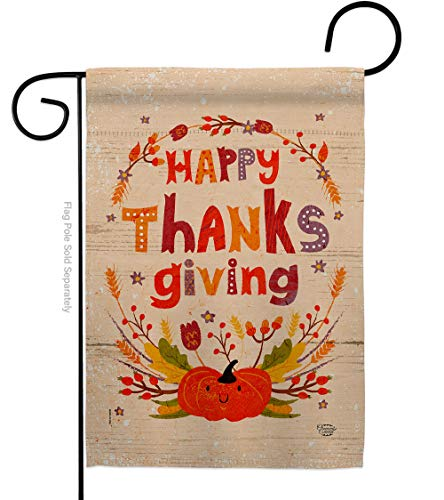 Ornament Collection Thanks Garden Flag Fall Thanksgiving Turkey Give Gobble Pumpkin Season Autumntime Cornucopia House Decoration Banner Small Yard Gift Double-Sided, Thick Fabric, Made in USA