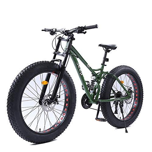 NENGGE 26 Pollici Donna Mountain Bike, Fat Bike da Montagna, Bicicletta Hardtail, Telaio in Acciaio ad Alto Tenore di Carbonio,Verde,21 Speed