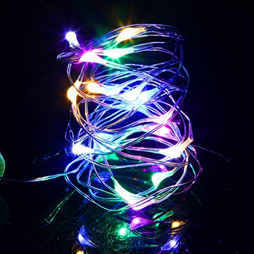 Homepeaz Fairy Lights, 1 Pack 5M 50LED Multi-Colored String Lights Battery Operated,Flexible Copper Wire Waterproof Xmas Tree Lights for Birthday Party, Christmas,Parasol Garden Lights