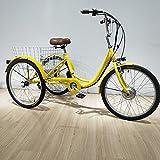 Triciclo eléctrico Adulto de Tres Ruedas Bicicleta de Litio de Edad para Padres...
