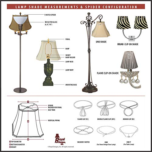 Royal Designs BSO-701-16EG Flare Bottom Outside Corner Scallop Basic Lamp Shade, 9 x 16 x 12, Eggshell