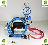 Agripro Kit pour tirage et charge au vide composé d'une pompe à vide mono-étagée 42 L/min, d'un manomètre et de flexibles de charge pour gaz R410A, R22,R134,R407