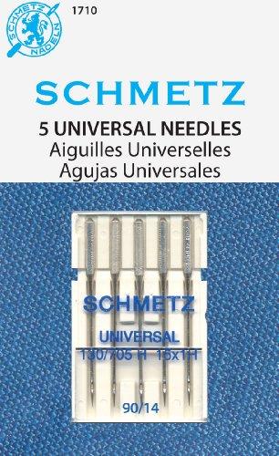 SCHMETZ Universal (130/705 H) 5 agujas para máquina de coser doméstica, cardadas, tamaño 90/14