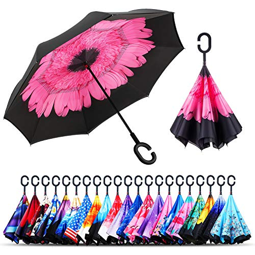 Owen Kyne Windproof Double Layer Folding Inverted Umbrella, Self Stand...