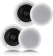 """Pyle Pair 6.5"""" Flush Mount In-wall In-ceiling 2-Way Home Speaker System Spring Loaded Quick Connections Dual Polypropylene Cone Polymer Tweeter Stereo Sound 200 Watts (PDIC1661RD)"""